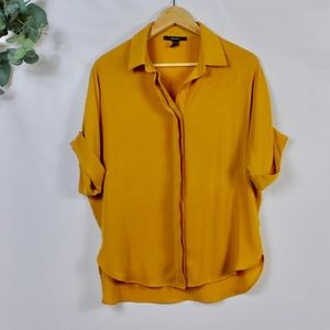 Forever 21 Mustard Yellow Short Sleeve Button Down